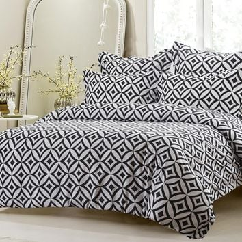 5PC BLACK AND WHITE DIAMOND CIRCLE DUVET COVER SET STYLE # 1013 - CHERRY HILL COLLECTION