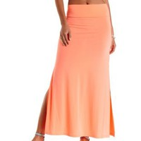 Neon Coral Neon Double Slit Maxi Skirt by Charlotte Russe