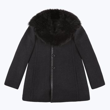 Oversized Wool Coat with Faux Furt Collar   Marc Jacobs