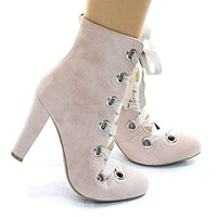 Amaya19 Thick Ribbon Corset Lace Up Ankle Bootie w Chunky Block Heel