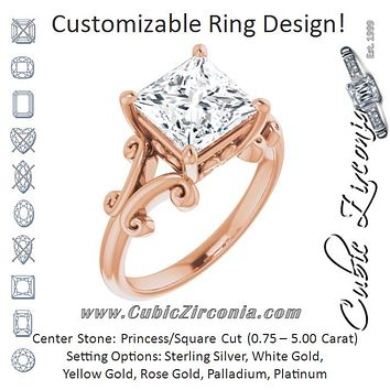 Cubic Zirconia Engagement Ring- The Paisley (Customizable Princess/Square Cut Solitaire with Band Flourish and Decorative Trellis)