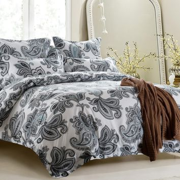 5PC BLACK AND WHITE DESIGN DUVET COVER SET STYLE # 1014 - CHERRY HILL COLLECTION