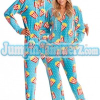 Movie Night Hooded Adult Pajamas - Hooded Footed Pajamas - Pop Corn Pajamas Footie PJs Onesuits One Piece Adult Pajamas - JumpinJammerz.com