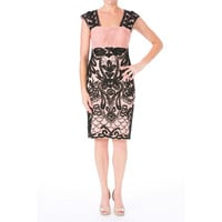 Sue Wong Womens Embroidered Ruched Cocktail Dress