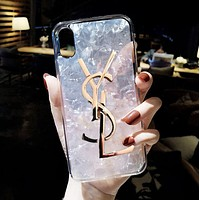 YSL New Stylish Women Chic Shell Silicone Mobile Phone Cover Case For iphone 6 6s 6plus 6s-plus 7 7plus iPhone 8 8 Plus iPhone X White I13850-1