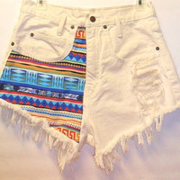 Vintage  High Waist Denim Shorts Tribal Print