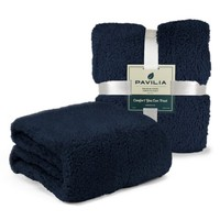 Sherpa Throw Blanket for Couch, Sofa by Pavilia - Blue - Walmart.com