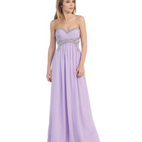 Lilac Strapless Sweetheart Embellished Gown 2015 Prom Dresses