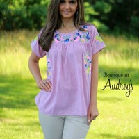 Red Pinstripe Short Sleeve Top with Floral Embroidery - Boutique At Audrey's