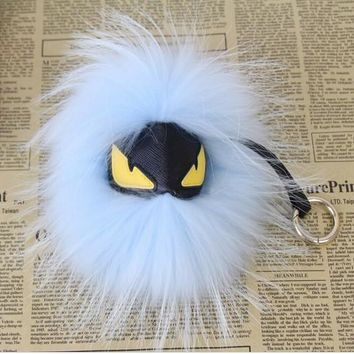 BEADY FUR MONSTER BAG CHARM - BENTLEY in WHITE