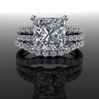 Forever Brilliant Moissanite and Diamond Princess Split Shank Engagement Ring 3.59 CTW