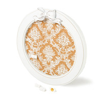 Vintage Damask Round Bulletin Board with Bow Push Pins