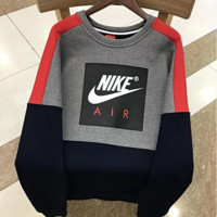 NIKE New fashion bust letter hook print splice contrast color thick keep warm men long sleeve top sweater Gray
