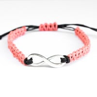 Infinity Hemp Friendship Bracelet Coral and Black