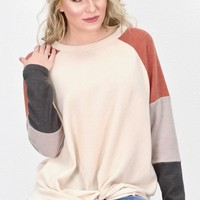 Get Twisted Color Block Fleece Top {Natural Mix}