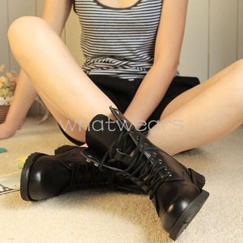 Winter Womens Fashion Boots Lace Up Low Heel Black Ankle Boots = 1946633988