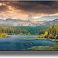 River and Mountains Landscape Picture on Stretched Canvas, Wall Art Decor, Ready to Hang!