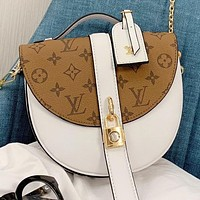 LV New fashion monogram print shoulder bag crossbody bag White