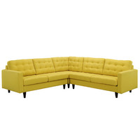 Modway Empress 3 Piece Fabric Sectional Sofa Set In Sunny