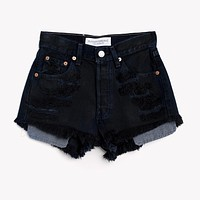 High Waisted Distressed Vintage Black Shorts