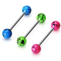 "14g Surgical Steel Tongue Ring Body Jewelry Piercing Barbell with Neon Green-pink-blue Splat Design Balls 14 Gauge 5/8"" 7z ACC"