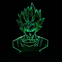 Dragon ball z super saiyan 3 goku action figures 3d table lamp 2016 New 7 color changing figuras dragon ball z banpresto figures