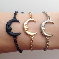 Crescent Moon Bracelet- Chain