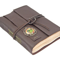 Dark Brown Leather Journal with Tea Stained Paper and Heart Cameo