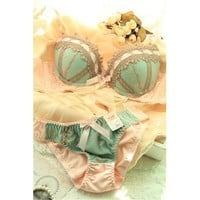 Lady Embroider Flower Sexy Underwear Decro Lace Push Up Pads Bra+Panty Set V-Nec [8833676044]
