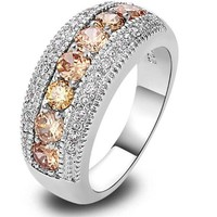 Colorful Manganite 18k White Gold Plated Cubic Zirconia Band