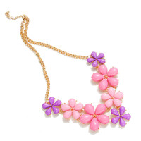2016 Big Flower Choker Necklace Pink Blue Colorful Glod Chain Plant Resin Statement Necklaces&Pendant For Women Fashion Jewelry