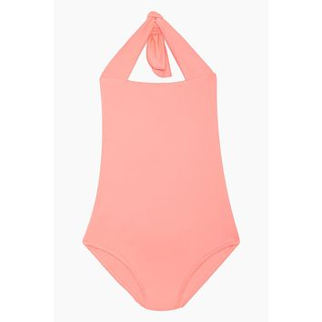 Layla Open Back One Piece Swimsuit (Kids) - Salmon Pink