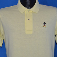 80s Walt Disney Mickey Mouse Yellow Polo Shirt Small