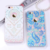 Colorful Floral Paisley Flower Mandala Clear Case For iphone 6 6S / Plus Cover Dynamic Liquid Glitter Sand Quicksand Phone Cases