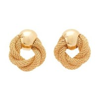 Gold Twisted Mesh Chain Knot Earrings by Charlotte Russe