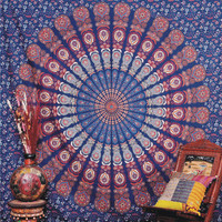 Mandala Hippie Large Tapestry, Blue Indian Ethnic wall Decor, Table Runner Bed Sheet, Hippie Dorm Decor - Beach Sheet - Hanging Wall,