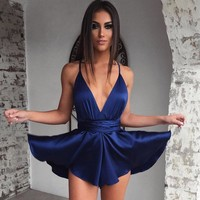 Sexy Strappy Satin Mini Dress