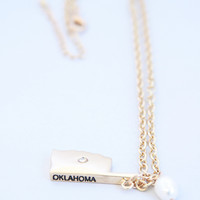 Gold Pearl Detail Oklahoma Necklace