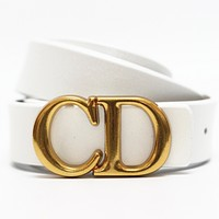 Dior Tide brand simple men and women models CD letter buckle belt white