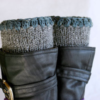 Boot cuffs in grey and pale blue, Boot toppers,  Knit leg warmers