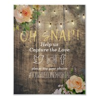 Wood Floral String Lights Oh Snap Hashtag Wedding Poster