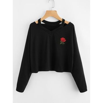 Rose Print Cropped Pullover