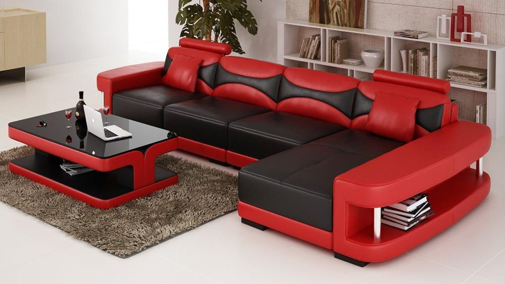 Image of Sturdy Lovely Built Modern Leather Sectional Sofa Set