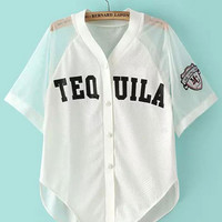 "White ""TEQUILA"" Organza Paneled Buttoned Shirt"