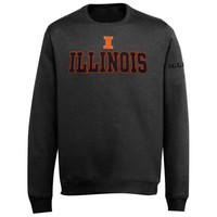 Illinois Fighting Illini Doubleshot V-Notch Fleece Crew Sweatshirt - Charcoal
