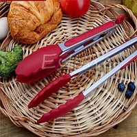 BBQ Tools Barbecue Cooking Tools BBQ Grill Utensils Outdoor Plastic Silicone Stainless Steel Tongs Kitchen Gadgets