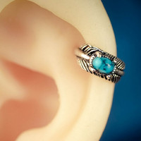 cartilage earring cartilage piercing helix earring sterling silver helix piercing turquoise feather 16g 20g unique boho bohemian jewelry