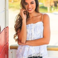 Blue and White Lace Tie Top