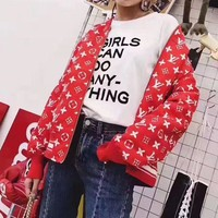 """Louis Vutitton LV×Supreme"" Women Fashion Logo Letter Print Long Sleeve Baseball Clothes Zip Cardigan Coat  H-AGG-CZDL"
