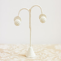 Gold Dot Button Earrings - Clip-On